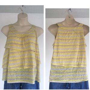 Striped ruffle tank with burnout pattern 18/20W